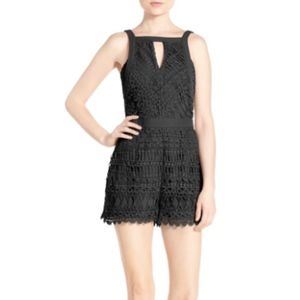 Adelyn Rae Crochet Black Lace Romper